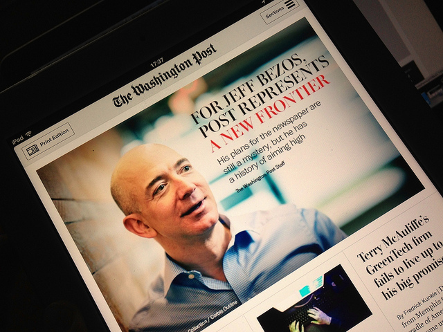 Jeff Bezos on the cover of The Washington Post, iPad version