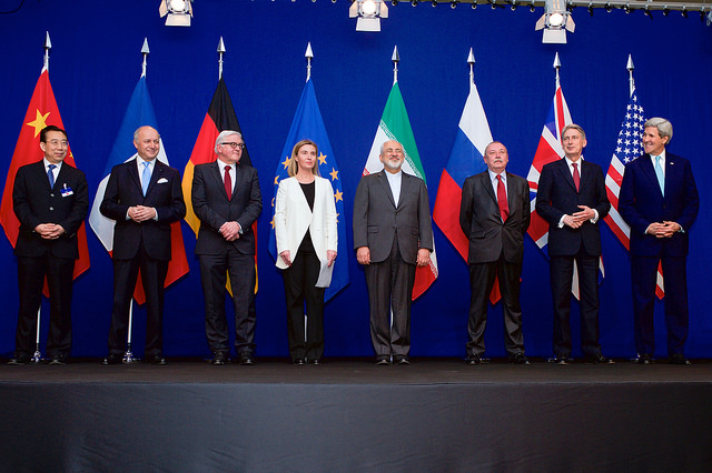 Secretary of State John Kerry Poses in Geneva for a photo with P5+1 leaders and Iranian Foreign Minister Zarif following negotiations about the future of Iran's nuclear program. -- U.S. State Department Photo