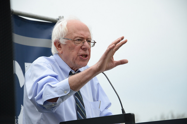 Bernie Sanders speaking in April in D.C.